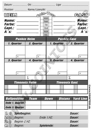 Schiedsrichter Game Card Papier