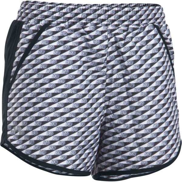 UA Fly-By Printed Women's Running Shorts Black / White (019)