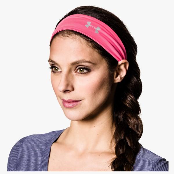 UA Sleek Speed Adjustable Headband Pink Shock