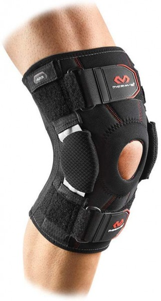 MC David Dual Disk Hinged Knee Brace Black